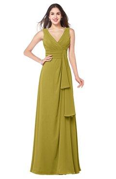 ColsBM Brenda Golden Olive Romantic Thick Straps Sleeveless Zipper Floor Length Sash Plus Size Bridesmaid Dresses
