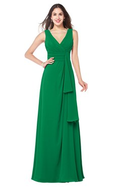 ColsBM Brenda Green Romantic Thick Straps Sleeveless Zipper Floor Length Sash Plus Size Bridesmaid Dresses