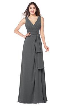 ColsBM Brenda Grey Romantic Thick Straps Sleeveless Zipper Floor Length Sash Plus Size Bridesmaid Dresses
