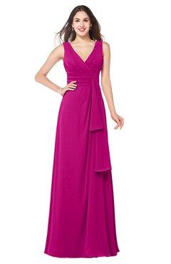 ColsBM Brenda Hot Pink Romantic Thick Straps Sleeveless Zipper Floor Length Sash Plus Size Bridesmaid Dresses