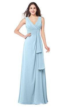 ColsBM Brenda Ice Blue Romantic Thick Straps Sleeveless Zipper Floor Length Sash Plus Size Bridesmaid Dresses