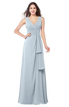 ColsBM Brenda Illusion Blue Romantic Thick Straps Sleeveless Zipper Floor Length Sash Plus Size Bridesmaid Dresses