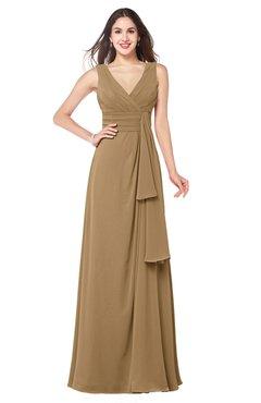 ColsBM Brenda Indian Tan Romantic Thick Straps Sleeveless Zipper Floor Length Sash Plus Size Bridesmaid Dresses