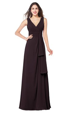 ColsBM Brenda Italian Plum Romantic Thick Straps Sleeveless Zipper Floor Length Sash Plus Size Bridesmaid Dresses