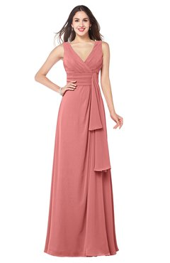ColsBM Brenda Lantana Romantic Thick Straps Sleeveless Zipper Floor Length Sash Plus Size Bridesmaid Dresses