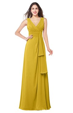 ColsBM Brenda Lemon Curry Romantic Thick Straps Sleeveless Zipper Floor Length Sash Plus Size Bridesmaid Dresses