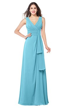 ColsBM Brenda Light Blue Romantic Thick Straps Sleeveless Zipper Floor Length Sash Plus Size Bridesmaid Dresses