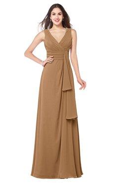 ColsBM Brenda Light Brown Romantic Thick Straps Sleeveless Zipper Floor Length Sash Plus Size Bridesmaid Dresses