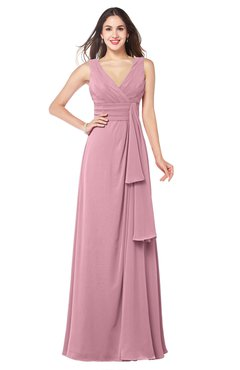 ColsBM Brenda Light Coral Romantic Thick Straps Sleeveless Zipper Floor Length Sash Plus Size Bridesmaid Dresses