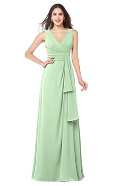 ColsBM Brenda Light Green Romantic Thick Straps Sleeveless Zipper Floor Length Sash Plus Size Bridesmaid Dresses