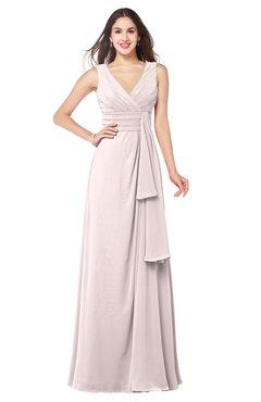ColsBM Brenda Light Pink Romantic Thick Straps Sleeveless Zipper Floor Length Sash Plus Size Bridesmaid Dresses