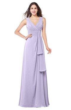 ColsBM Brenda Light Purple Romantic Thick Straps Sleeveless Zipper Floor Length Sash Plus Size Bridesmaid Dresses