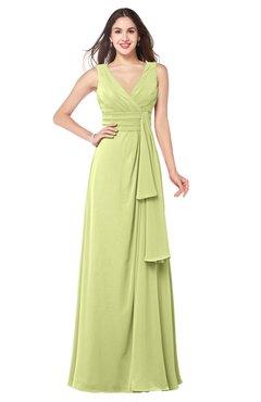 ColsBM Brenda Lime Green Romantic Thick Straps Sleeveless Zipper Floor Length Sash Plus Size Bridesmaid Dresses