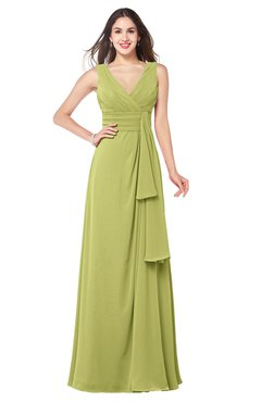 ColsBM Brenda Linden Green Romantic Thick Straps Sleeveless Zipper Floor Length Sash Plus Size Bridesmaid Dresses