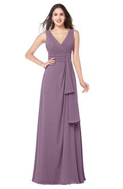 1bf9d508db40 ColsBM Brenda Mauve Romantic Thick Straps Sleeveless Zipper Floor Length  Sash Plus Size Bridesmaid Dresses