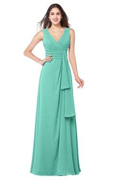 ColsBM Brenda Mint Green Romantic Thick Straps Sleeveless Zipper Floor Length Sash Plus Size Bridesmaid Dresses