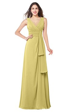 ColsBM Brenda Misted Yellow Romantic Thick Straps Sleeveless Zipper Floor Length Sash Plus Size Bridesmaid Dresses