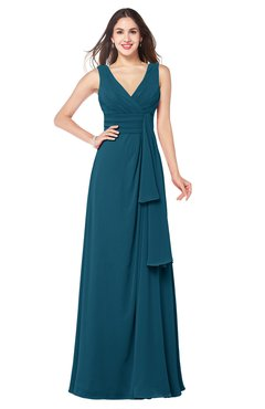 ColsBM Brenda Moroccan Blue Romantic Thick Straps Sleeveless Zipper Floor Length Sash Plus Size Bridesmaid Dresses