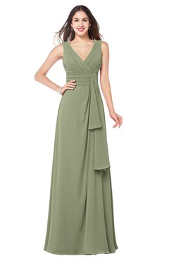 ColsBM Brenda Moss Green Romantic Thick Straps Sleeveless Zipper Floor Length Sash Plus Size Bridesmaid Dresses
