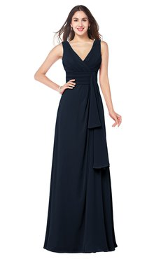 ColsBM Brenda Navy Blue Romantic Thick Straps Sleeveless Zipper Floor Length Sash Plus Size Bridesmaid Dresses