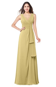 ColsBM Brenda New Wheat Romantic Thick Straps Sleeveless Zipper Floor Length Sash Plus Size Bridesmaid Dresses