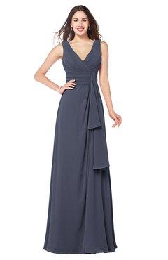 ColsBM Brenda Nightshadow Blue Romantic Thick Straps Sleeveless Zipper Floor Length Sash Plus Size Bridesmaid Dresses