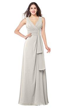 ColsBM Brenda Off White Romantic Thick Straps Sleeveless Zipper Floor Length Sash Plus Size Bridesmaid Dresses