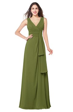 ColsBM Brenda Olive Green Romantic Thick Straps Sleeveless Zipper Floor Length Sash Plus Size Bridesmaid Dresses