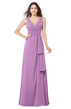 ColsBM Brenda Orchid Romantic Thick Straps Sleeveless Zipper Floor Length Sash Plus Size Bridesmaid Dresses