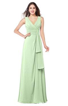 ColsBM Brenda Pale Green Romantic Thick Straps Sleeveless Zipper Floor Length Sash Plus Size Bridesmaid Dresses