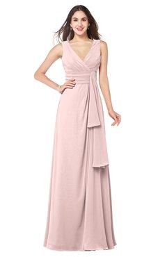 ColsBM Brenda Pastel Pink Romantic Thick Straps Sleeveless Zipper Floor Length Sash Plus Size Bridesmaid Dresses