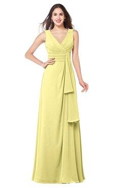 ColsBM Brenda Pastel Yellow Romantic Thick Straps Sleeveless Zipper Floor Length Sash Plus Size Bridesmaid Dresses