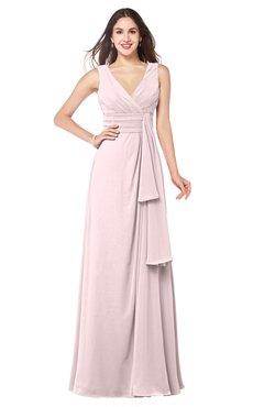 ColsBM Brenda Petal Pink Romantic Thick Straps Sleeveless Zipper Floor Length Sash Plus Size Bridesmaid Dresses