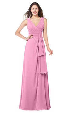 ColsBM Brenda Pink Romantic Thick Straps Sleeveless Zipper Floor Length Sash Plus Size Bridesmaid Dresses