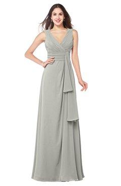 ColsBM Brenda Platinum Romantic Thick Straps Sleeveless Zipper Floor Length Sash Plus Size Bridesmaid Dresses