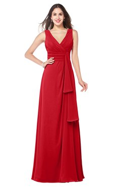 ColsBM Brenda Red Romantic Thick Straps Sleeveless Zipper Floor Length Sash Plus Size Bridesmaid Dresses