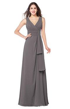 ColsBM Brenda Ridge Grey Romantic Thick Straps Sleeveless Zipper Floor Length Sash Plus Size Bridesmaid Dresses