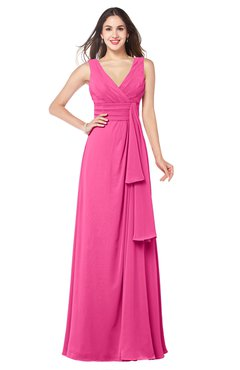 ColsBM Brenda Rose Pink Romantic Thick Straps Sleeveless Zipper Floor Length Sash Plus Size Bridesmaid Dresses