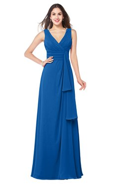 ColsBM Brenda Royal Blue Romantic Thick Straps Sleeveless Zipper Floor Length Sash Plus Size Bridesmaid Dresses