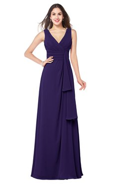 ColsBM Brenda Royal Purple Romantic Thick Straps Sleeveless Zipper Floor Length Sash Plus Size Bridesmaid Dresses
