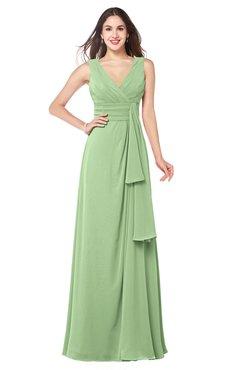 ColsBM Brenda Sage Green Romantic Thick Straps Sleeveless Zipper Floor Length Sash Plus Size Bridesmaid Dresses