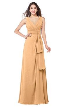 ColsBM Brenda Salmon Buff Romantic Thick Straps Sleeveless Zipper Floor Length Sash Plus Size Bridesmaid Dresses