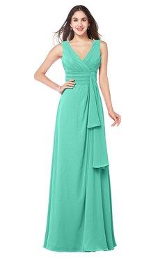 ColsBM Brenda Seafoam Green Romantic Thick Straps Sleeveless Zipper Floor Length Sash Plus Size Bridesmaid Dresses