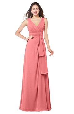 ColsBM Brenda Shell Pink Romantic Thick Straps Sleeveless Zipper Floor Length Sash Plus Size Bridesmaid Dresses