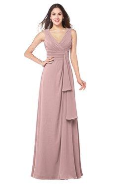 ColsBM Brenda Silver Pink Romantic Thick Straps Sleeveless Zipper Floor Length Sash Plus Size Bridesmaid Dresses