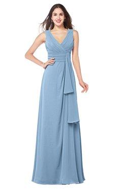 ColsBM Brenda Sky Blue Romantic Thick Straps Sleeveless Zipper Floor Length Sash Plus Size Bridesmaid Dresses
