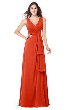 ColsBM Brenda Tangerine Tango Romantic Thick Straps Sleeveless Zipper Floor Length Sash Plus Size Bridesmaid Dresses