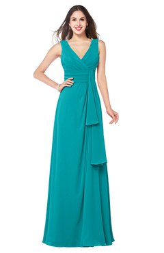 ColsBM Brenda Teal Romantic Thick Straps Sleeveless Zipper Floor Length Sash Plus Size Bridesmaid Dresses