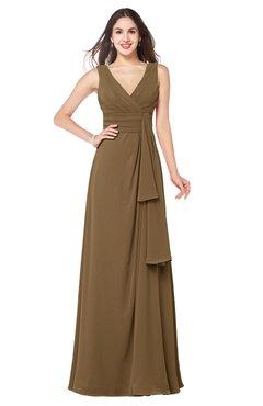 ColsBM Brenda Truffle Romantic Thick Straps Sleeveless Zipper Floor Length Sash Plus Size Bridesmaid Dresses
