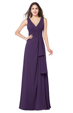 ColsBM Brenda Violet Romantic Thick Straps Sleeveless Zipper Floor Length Sash Plus Size Bridesmaid Dresses
